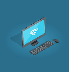wireless connection computer accessories cartoon vector image