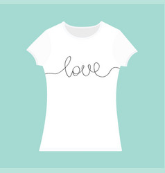 Word love lettering t-shirt template white color vector