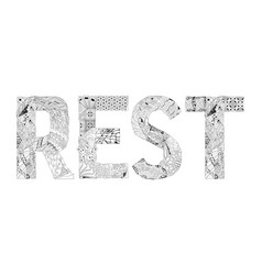 Word rest for coloring decorative vector