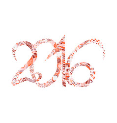 zentangl hand draw numbers in 2016 vector image