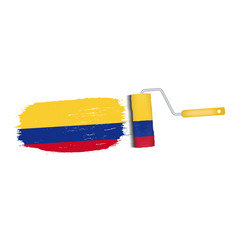 brush stroke with colombia national flag isolated vector image vector image