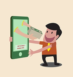 Business man receiving money over mobile internet vector image vector image
