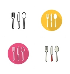 Cutlery flat design linear and color icons set vector image vector image