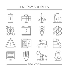Energy Sources Line Icon Set vector image