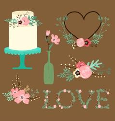Rustic floral Wedding Clip Art vector image vector image