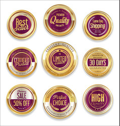 sale retro vintage golden badges and labels 11 vector image