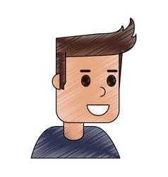 color pencil cartoon side view half body guy with vector image vector image