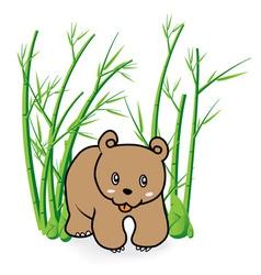 Cute bear in bamboo forrest 04 vector
