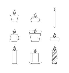 Flat thin line icons Christmas candles vector image vector image