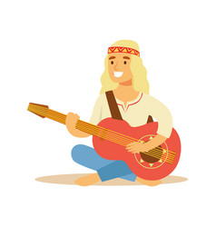 guy hippie dressed in classic woodstock sixties vector image