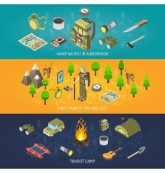 Hiking Banner Equipment And Tourist camp vector image vector image