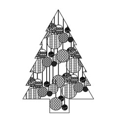 monochrome silhouette of christmas tree with vector image vector image