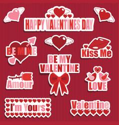 valentine stickers vector image