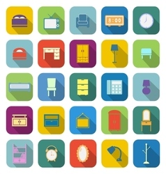 Bedroom color icons with long shadow vector