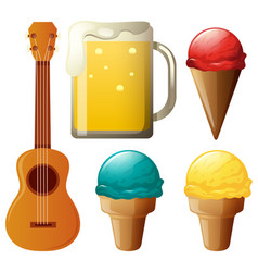 different flavors of icecream and beer vector image