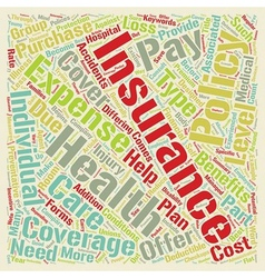 Health Insurance text background wordcloud concept vector image