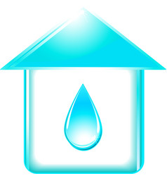 house and glossy water drop vector image