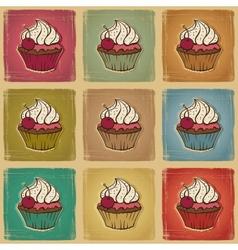 Retro cupcakes background vector image