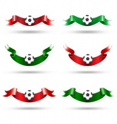 ribbons with soccer ball vector image