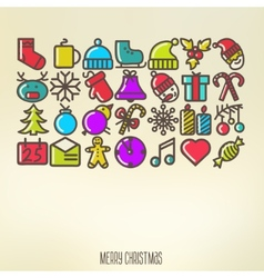 Christmas icons elements and vector