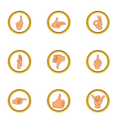 hand gesture icons set cartoon style vector image