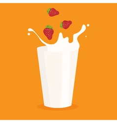 milk splash in the glass and strawberry vector image vector image