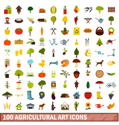 100 agricultural art icons set flat style vector image