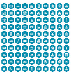 100 building icons sapphirine violet vector