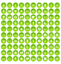 100 men health icons set green vector