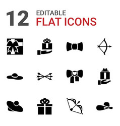 12 bow icons vector image