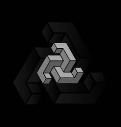 3d hexagon geometric triangle block box cube logo vector