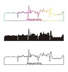 Alexandria skyline linear style with rainbow vector