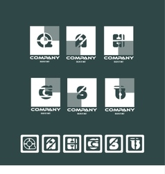 Alphabet letter logo icon set square vector