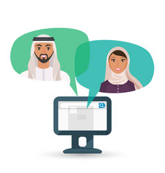 Arabic man and woman communicate by internet vector
