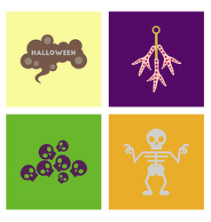 assembly flat icons halloween skeleton sign vector image