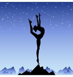 Beautiful flexible girl gymnast staying on one leg vector