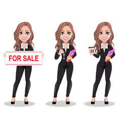 beautiful realtor woman a real estate agent vector image