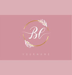 Bl b l letters logo design with golden circle vector