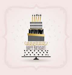 Black and golden happy birthday cake card on pink vector