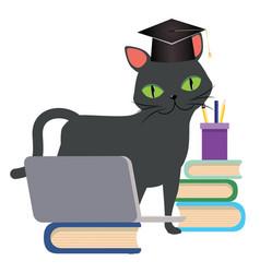 Black cat graduation vector