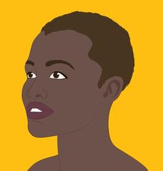 black girl on a saffron background vector image