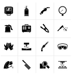 Black welding and construction tools icons vector