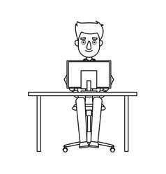 Business man entrepreneur working on a laptop vector