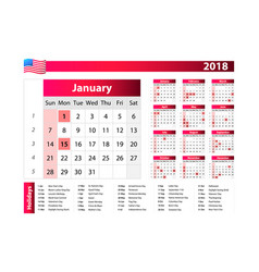 calendar for 2018 with noted us holidays on white vector image