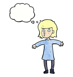 Cartoon nervous woman with thought bubble vector