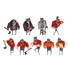 Cartoon set of lumberjack in different actions vector