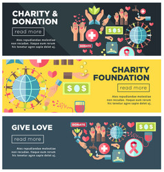 Charity and donation foundation promo internet vector