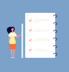 checklist concept businesswoman standing at to do vector image