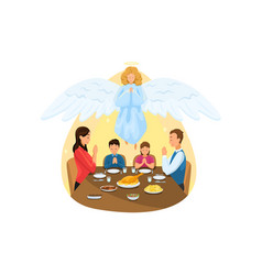 christianity religion meal protection prayer vector image