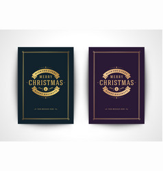 christmas greeting card and ornate typographic vector image